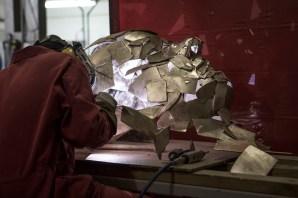 Jonathan Yeo sculpture being welded