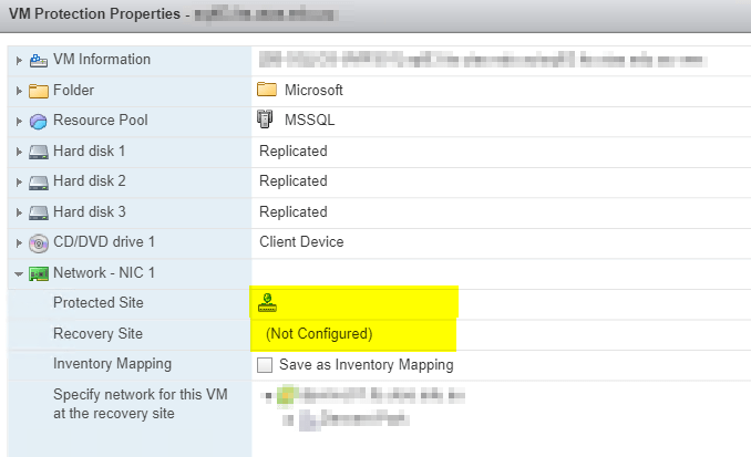 VMware Site Recovery Manager: VM Protection – Network Not