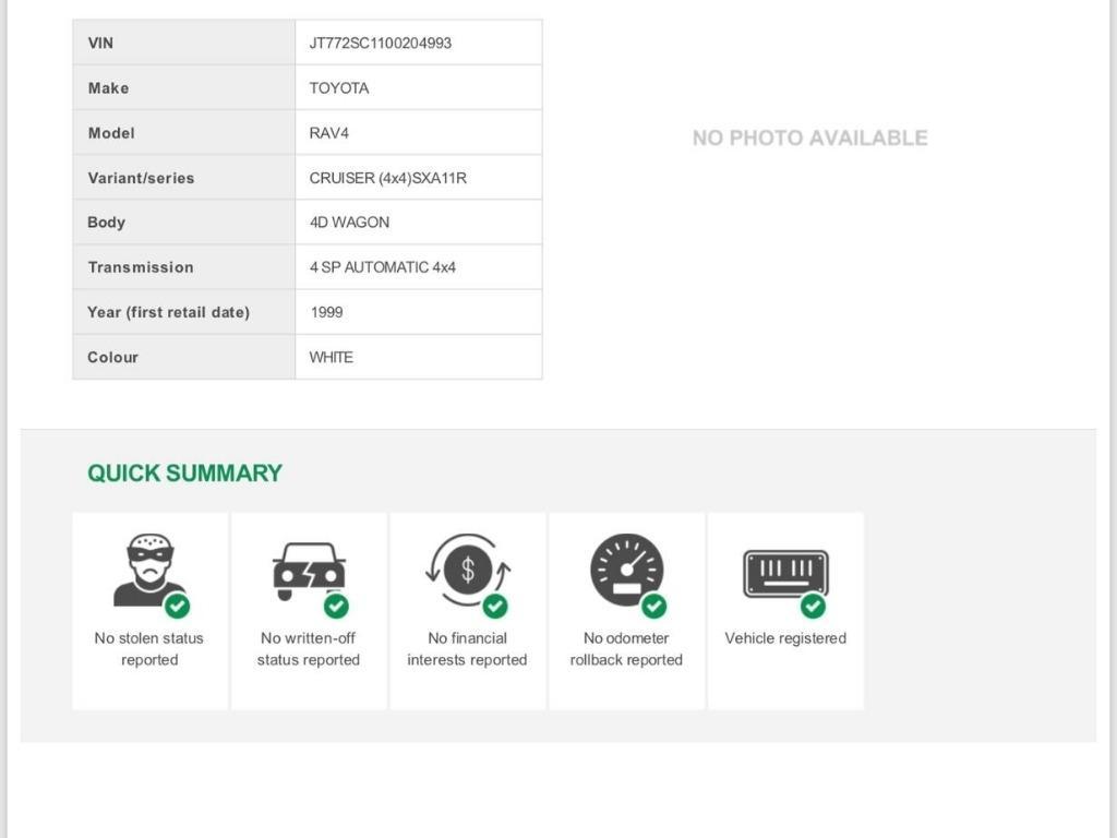 Toyota Rav4 My99 5 Door Wagon 2 0l 4 Cylinder
