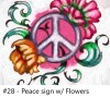 Painting, art, Peace Sign with Flowers, zoom class, video Conferencing, class, instruction, virtual, Groups, Birthday Party