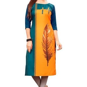 New Ethnic 4 You Women's Multicolor Printed Full Stitched Crepe Straight Kurta