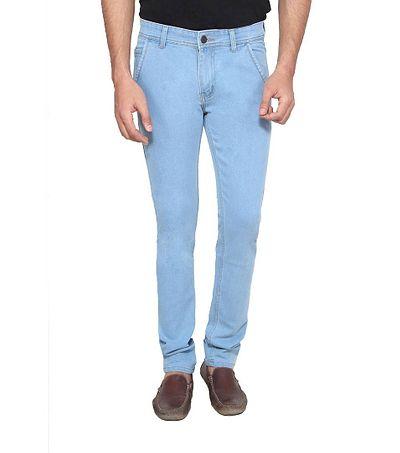 Men Light Blue Solid Regular Fit Denim Mid Rise Jeans