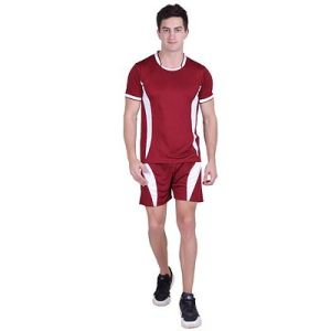 Men's Red Polyester Self Pattern Regular Fit Sports Tees Shorts