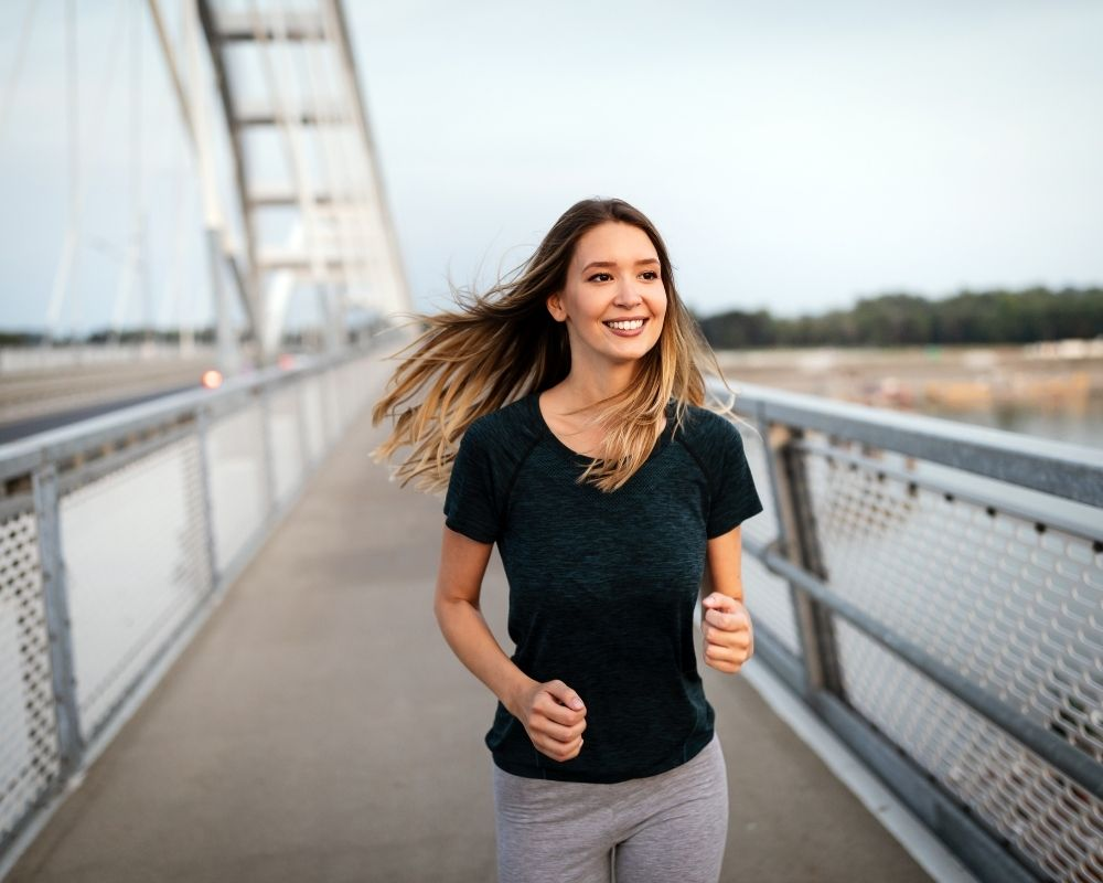 Woman, Jogging, Active, Smiling, Bridge