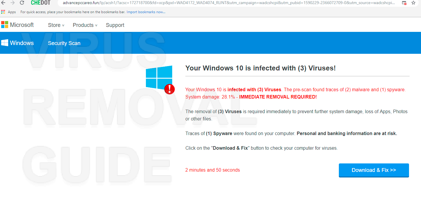 Your Windows 10 is infected with 3 Viruses!