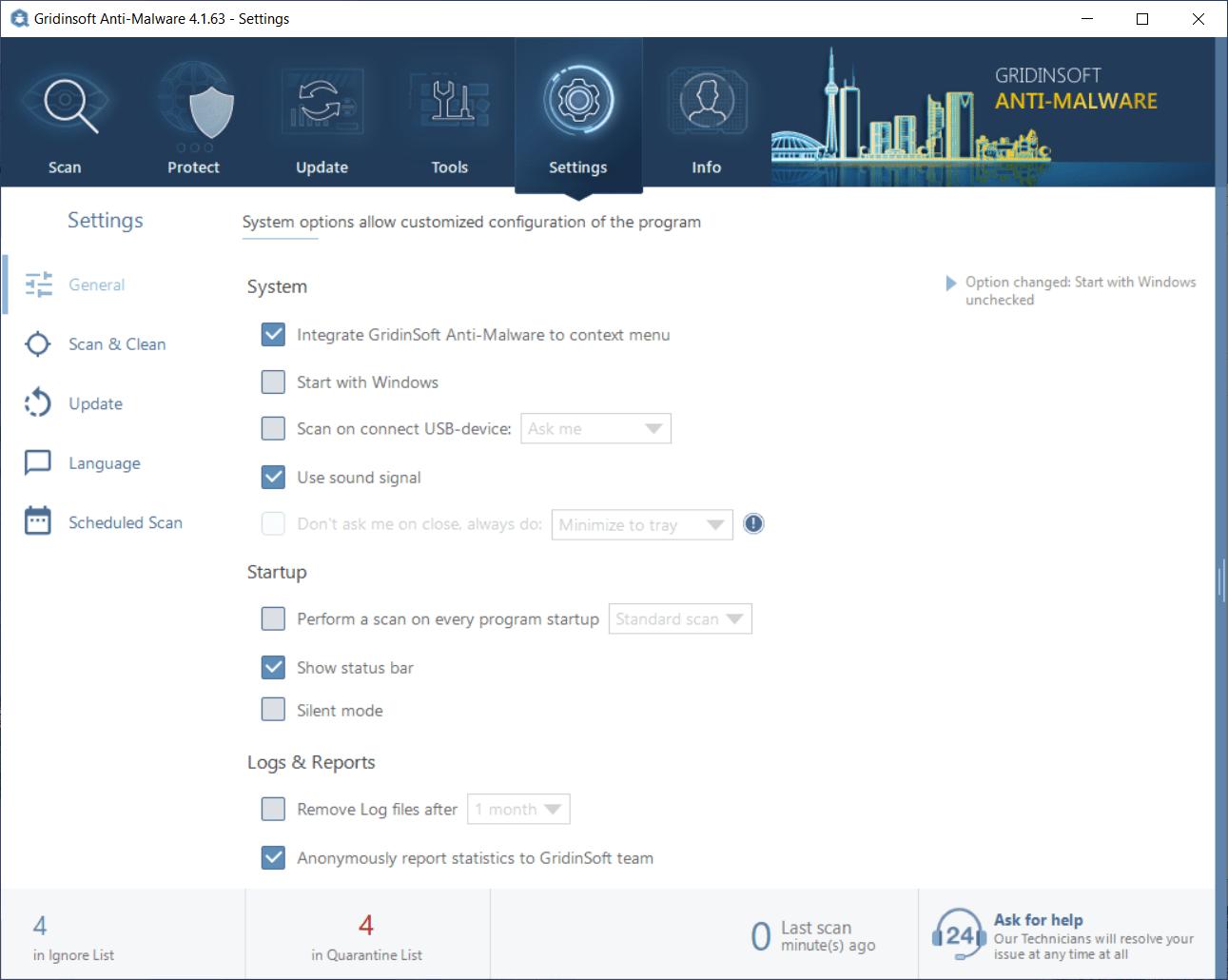 GridinSoft Anti-Malware general settings