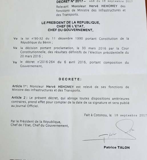 BREVE: Benin: Le Ministres des travaux publics relevé de ses fonctions