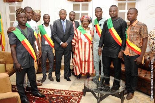 M. Fidèle HOUINSOU Président de la Fédération des élus locaux de la Commune d'Abomey-Calavi et sa délégation reçus en Audience par le Président Houngbédji