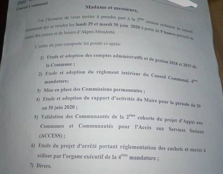 Akpro-Missérété: La 2ème session ordinaire du Conseil communal ouverte lundi prochain