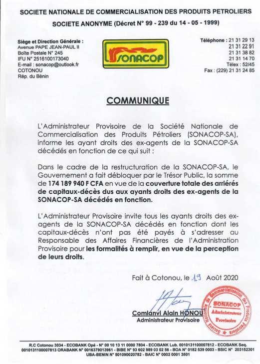 Communiqué SONACOP