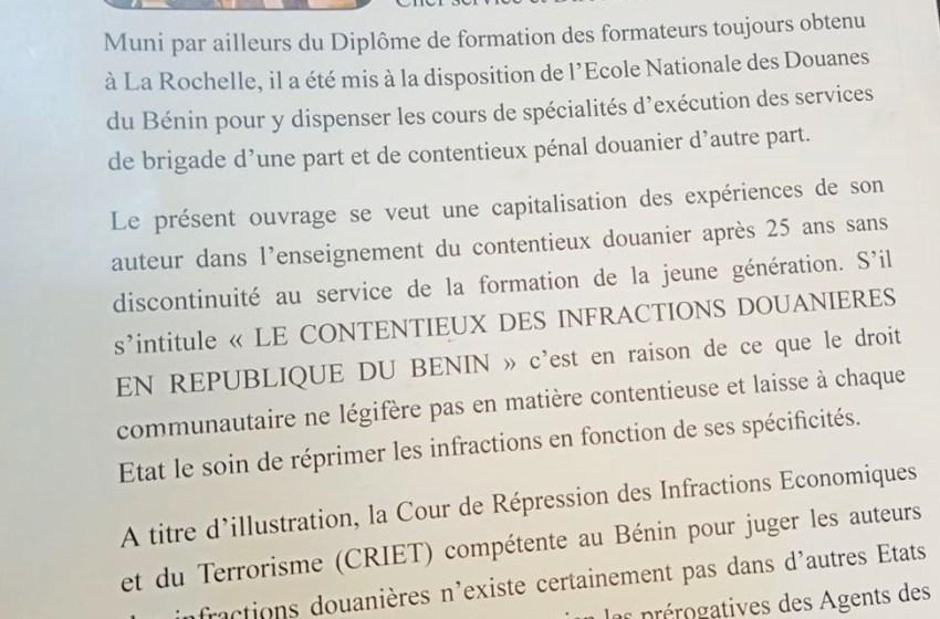 «Le contentieux des infractions douanières en République du Benin» de Louis G Vlavonou pour marquer la St Mathieu 2020