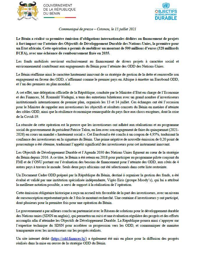Pour le financement de projets à fort impact sur l'atteinte des ODD: Le gouvernement du #Bénin mobilise 328 milliards de FCFA