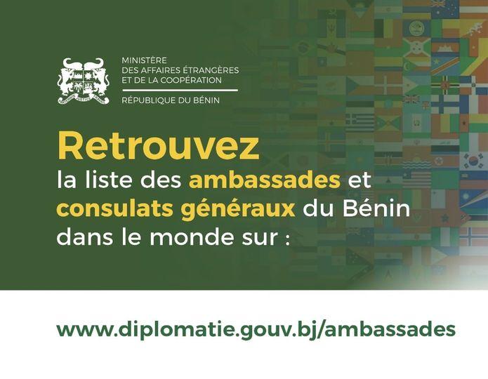 #Bénin/Diplomatie: Le Gouvernement rend accessible la liste nominative et les coordonnées de ses ambassadeurs et consuls honoraires de par le monde