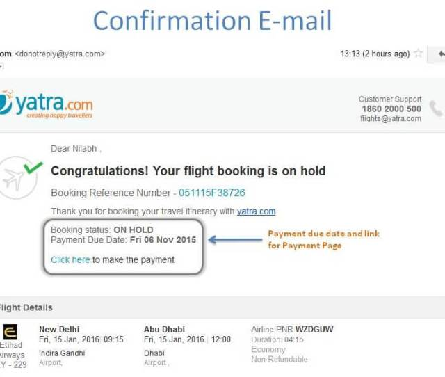 Confirmation Email Flight Booking On Hold