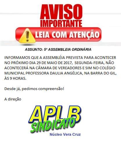 Vera Cruz: APLB Sindicato a luta não para; Convite