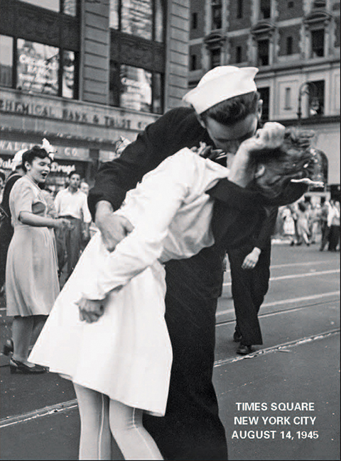 Man and Woman Kissing at the Times Square