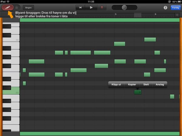 Toneredigering i Garageband for iPad
