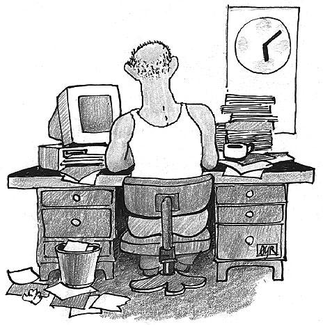 Kontorist (tegning: Ø. Rauset(