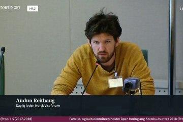 Audun Reithaug i Stortinget på høring 30. oktober 2017.