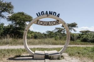The sign of the equator in Uganda.