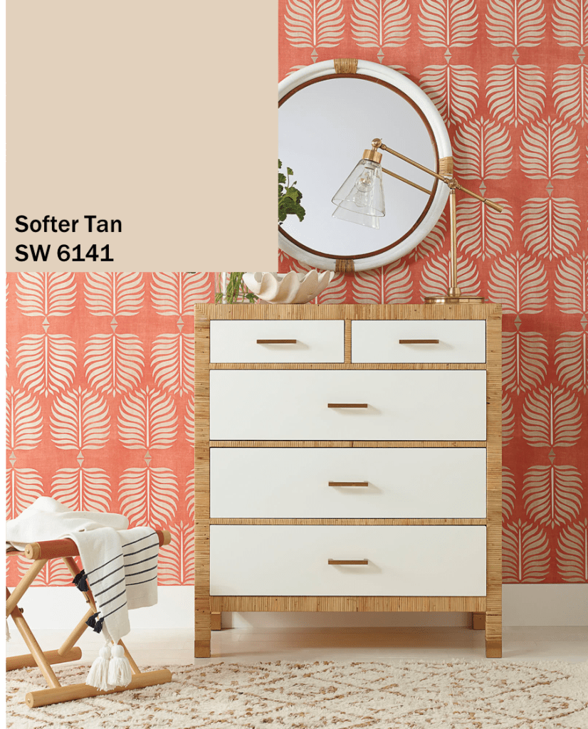Softer Tan Paint and Leaf Print Wallpaper