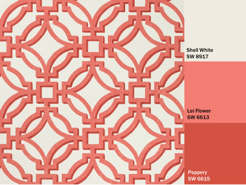 Red and Shell White Design Wallpaper