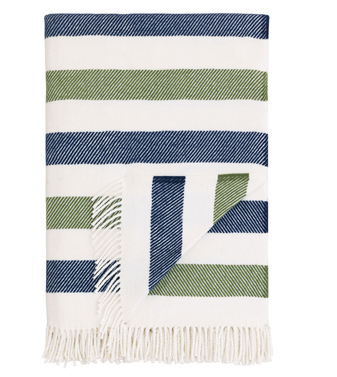 Green and blue woven blanket