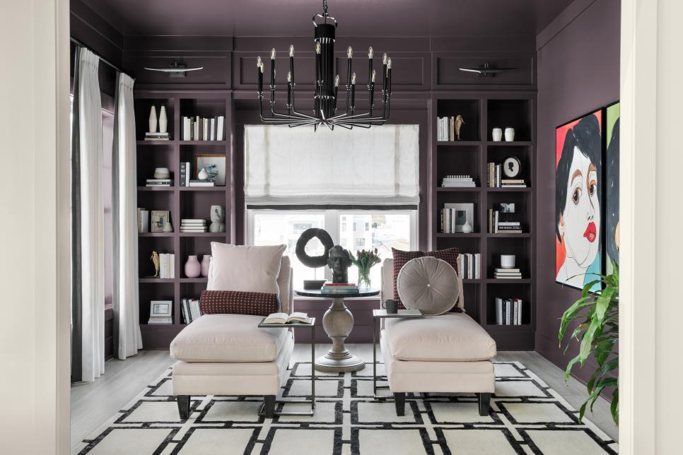 purple walls decorate the interior fo the HGTV smart home