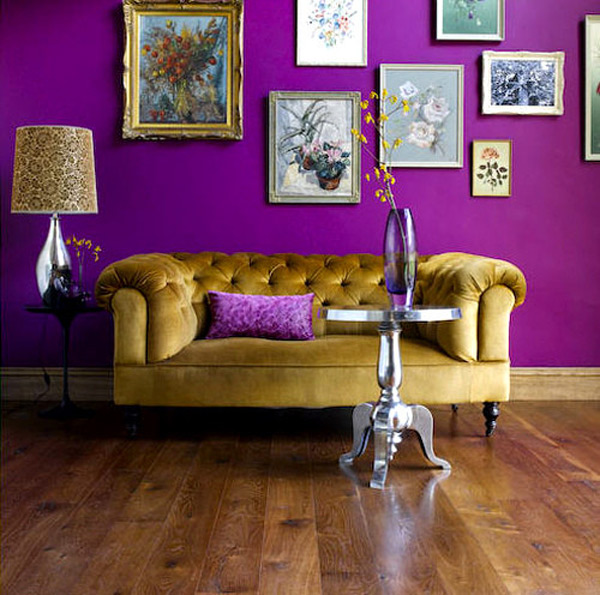 purple and yellow couch in room