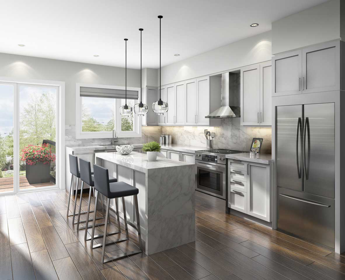 gray kitchen featuring waterfall and marble island