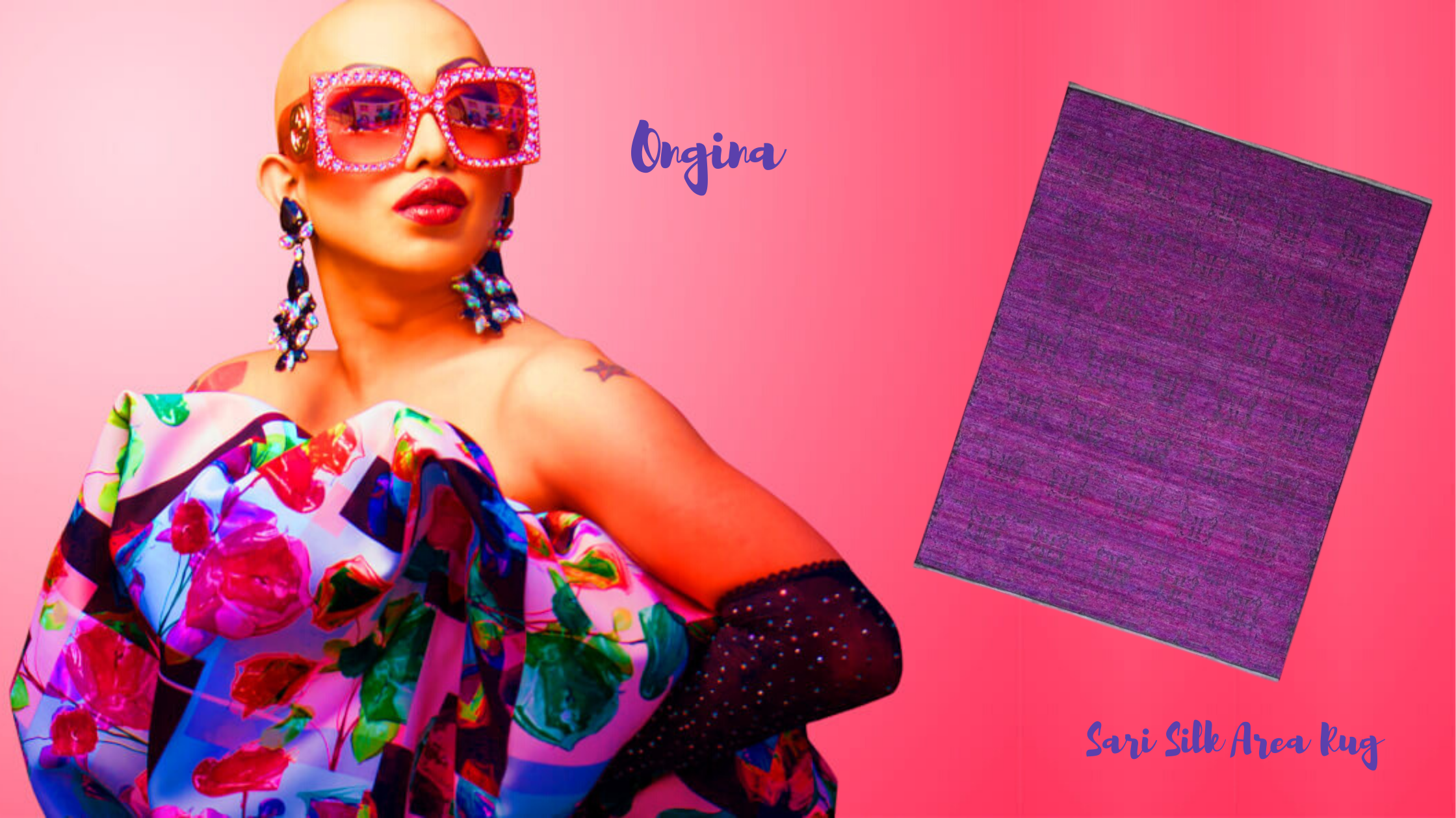 Drag Queen Ongina Image by Getty Images and the Sari Silk Area Rug Imported by S&H Rugs