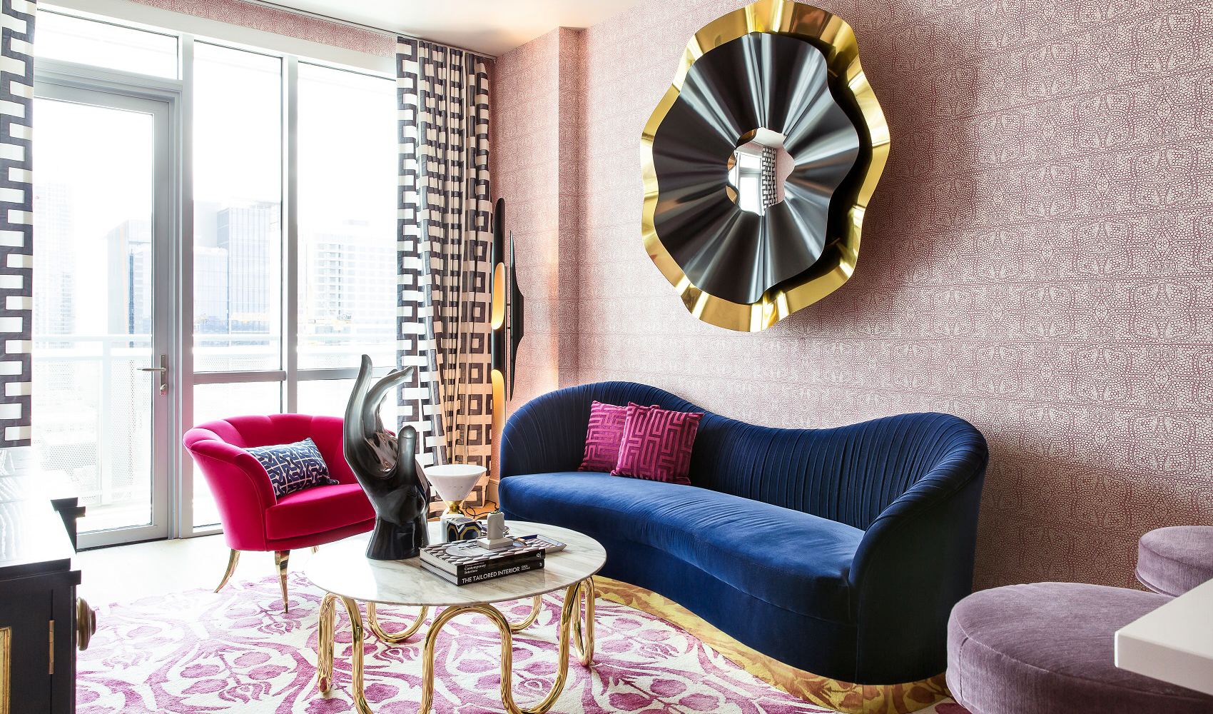 Living Room design featuring wallpaper in a pink, geometric vintage design