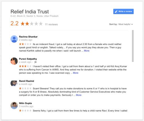 Relief India Trust Google Reviews