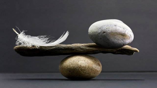 mindfulness rock feather