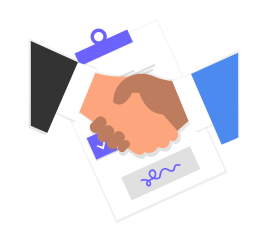 Visibly Connected shaking hands with a lawyer over a signed deal.