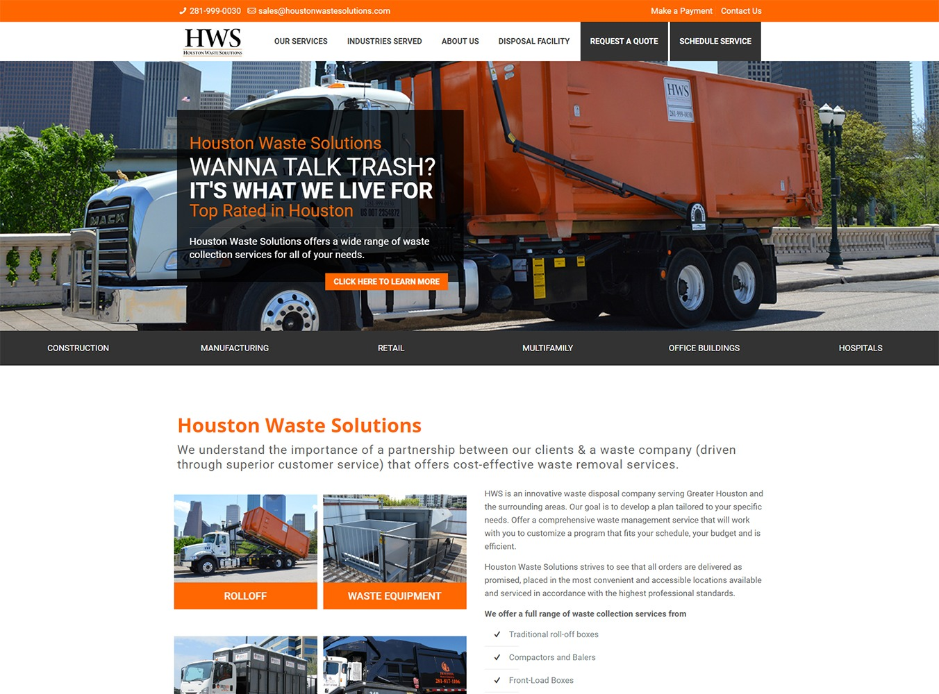 Houston Waste Solutions Website Development by Visibly Connected