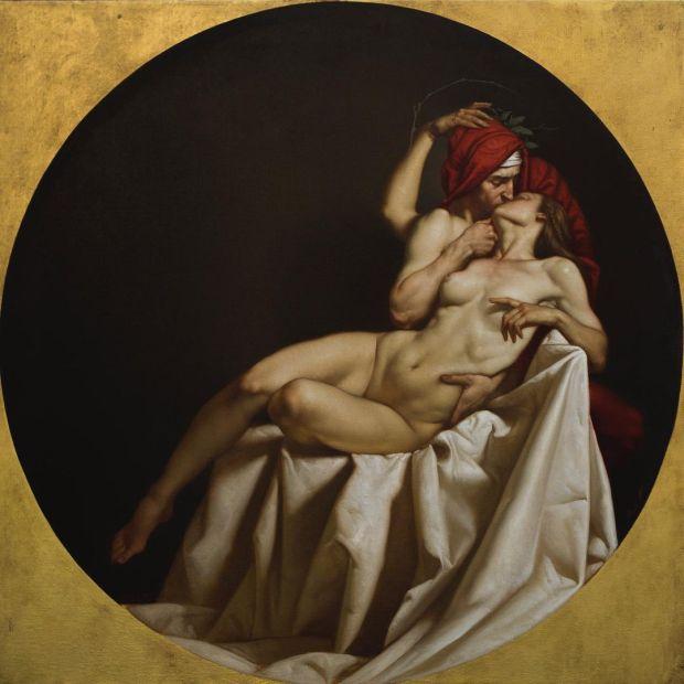 """""""IL BACIO"""" tempera grassa su tela 105 x 105 cm. Roberto Ferri."""