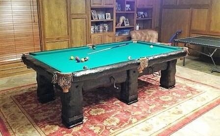 Grizzly Rustic Log Handmade pool Table by Vision Billiards 9'