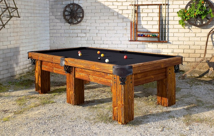 Handmade Rustic Log Pool Table Ranch by Vision Billiards