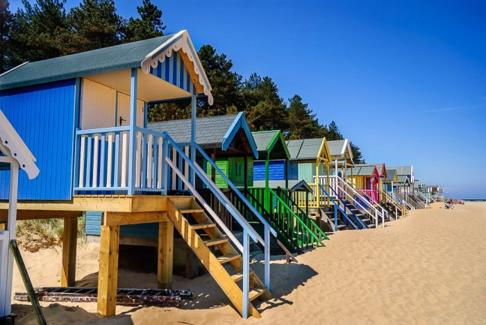 Colourful beach huts at Wells-next-the-Sea