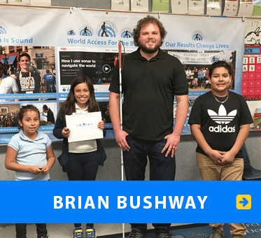Brian Bushway. Photo shows him with students at an L.A. area school during a FlashSonar workshop at their Science Fair. Link to Brian's page.