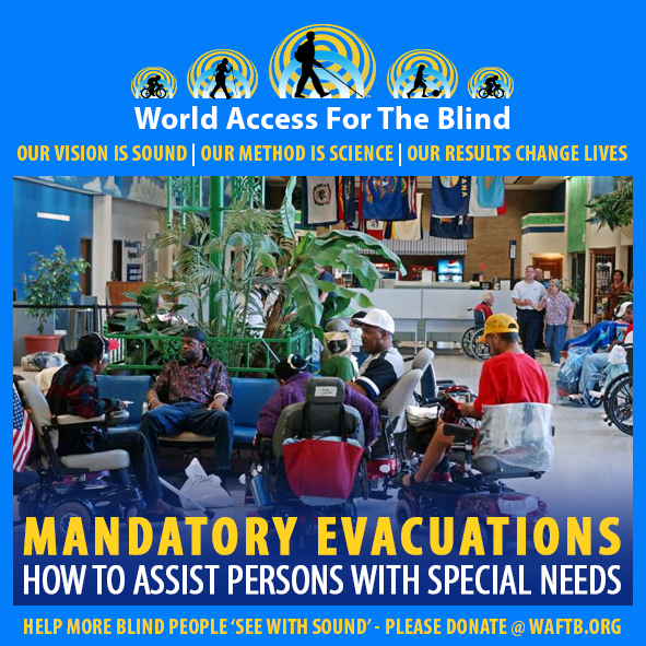WAFTB Facebook Module frames a photo of persons with special needs gathered in motorized wheelchairs at an airport in southern Texas being evacuated during Hurricane Rita. Caption Mandatory Evacuations. How to assist persons with special needs. CLick to go to the article on our Facebook page.