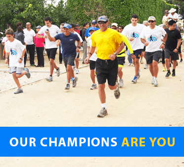 Our Champions Are You. Photo shows the start of the Alcon 5K Walk, Run, Ride Fundraising event to benefit World Access For The Blind.