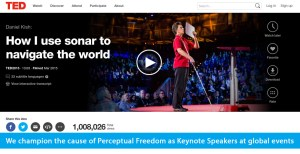 Banner slide shows the TED page for World Access For The Blind Founder and President Daniel Kish and his 2015 TED talk titled: How I use sonar to navigate the world, which is showing over 1 million views. The banner text reads: We champion the cause of Perceptual Freedom as Keynote Speakers at global events.