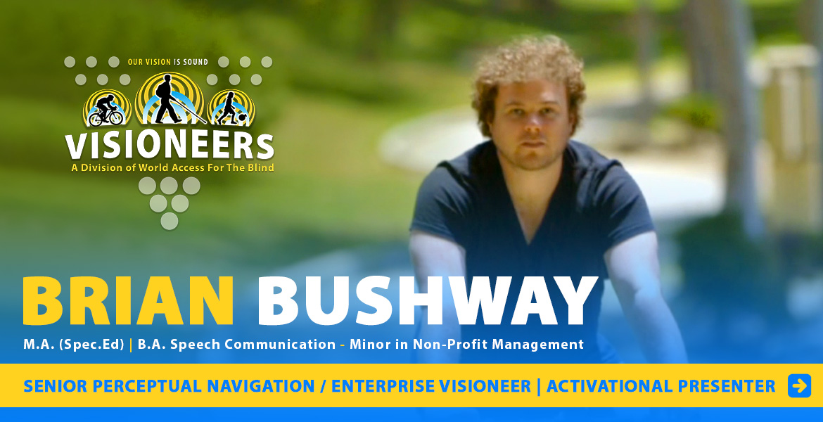Brian Bushway - Masters degree in Special Education | Bachelor of Arts in Speech Communication - Minor in Non-Profit Management. Senior Perceptual Navigation / Enterprise Visioneer | Activational Presenter. Photo of Brian Bushway riding a bicycle in a Los Angeles park on a sunny day.