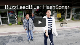 Video image: Daniel Kish walks behind WAFTB Perceptual Navigation instructor Juan Ruiz and a student.