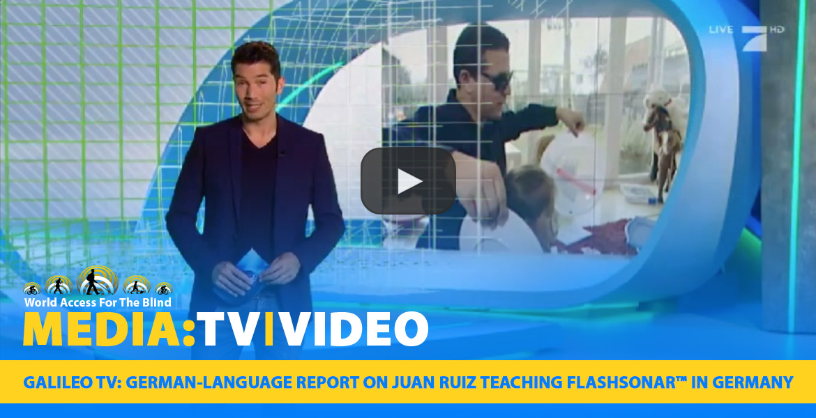 Media: TV-VIDEO: Galileo TV: German-language report on Juan Ruiz teaching FlashSonar in Germany.Image: Host in-studeio stands in front of a video screen image of Juan instructing a student.