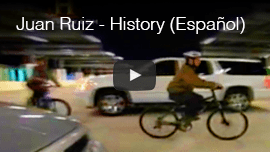 Juan Ruis, History Channel en Español. Vide thumbnail shows Juan riding a bicycle in a car park.