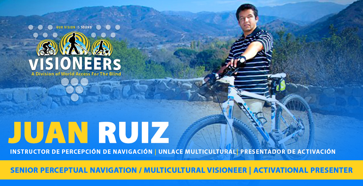 Juan Ruiz - Instructor de Percepcion de navigacion | Unlace multicultural | Presentador de Activacion. Senior Perceptual Navigation / Multicultural Visioneer | Activational Presenter. Photo: Juan Ruiz standing beside his mountain bike at a scenic moountain outlook in California.
