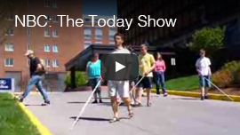 NBC- The Today Show: Video Image: Daniel Kish leads students in a building's parking lot.